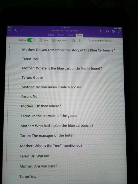We had read the story of The Blue Carbuncle that is part of the Sherlock Holmes Series and this was a mini conversation we had following that.
