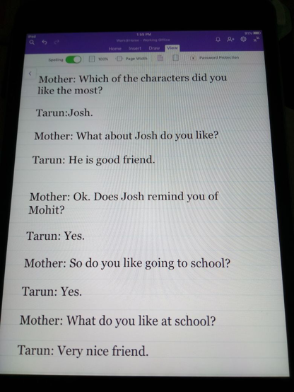 This was a conversation between mother and son about sarcasm when it came up while reading some book.