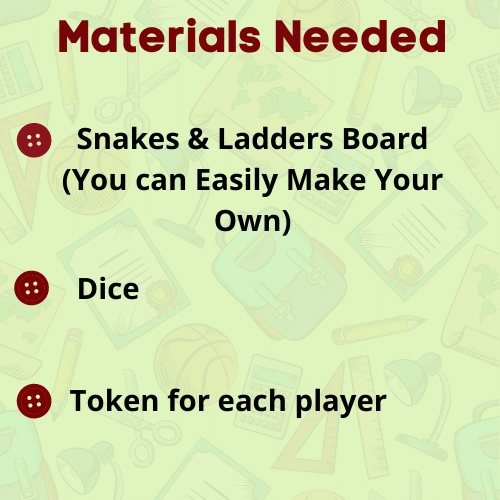 Snakes & Ladders Game Materials