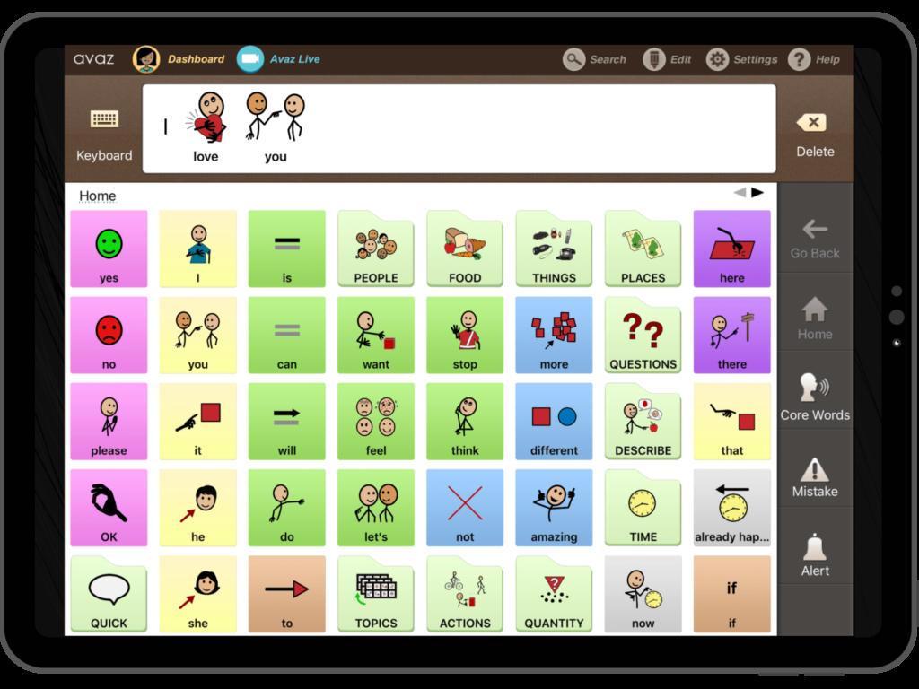 Avaz App Vocabulary Screenshot
