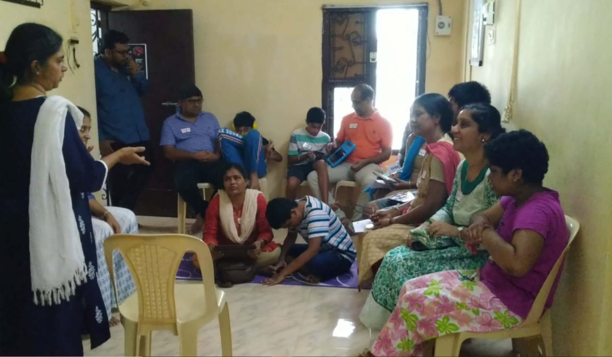 Lalitha talking to parents