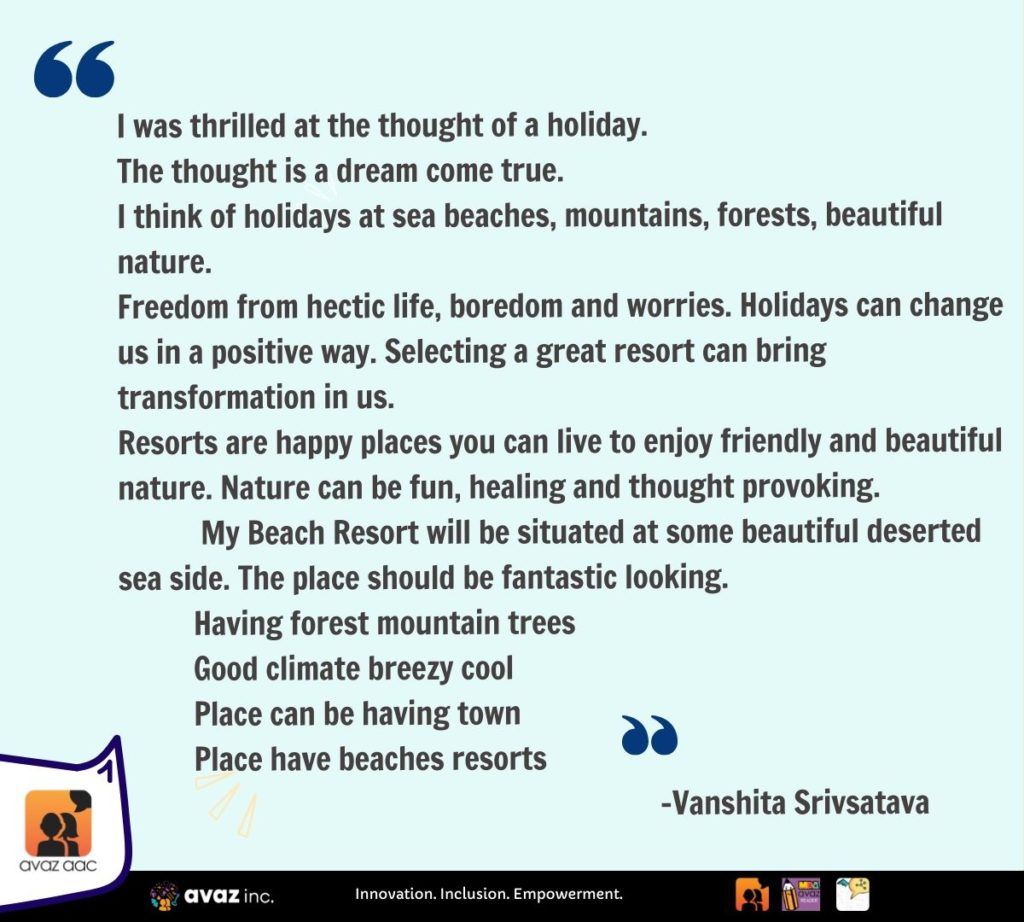 Vanshita about Holiday
